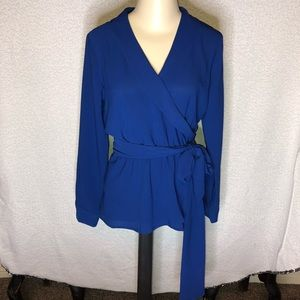 🦋 Gibson Royal Blue Faux Wrap Blouse. Small.